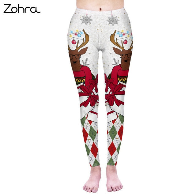 Fashion Women Legging Hipster Christmas Printing Leggins Workou Legins Slim Fitness Pants Punk Elasticity Leggings - unitedstatesgoods