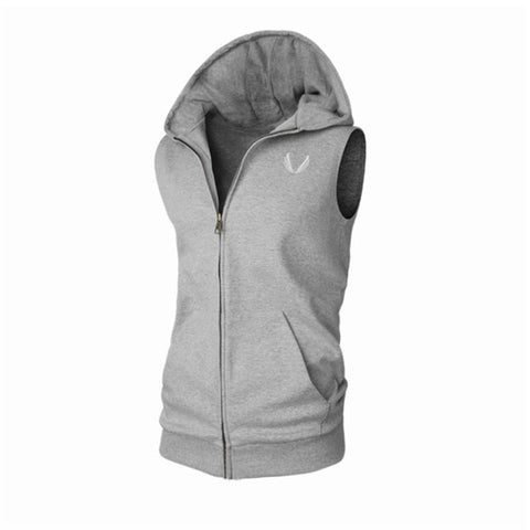 Fitness Hoodies Sleeveless Men Bodybuilding Clothing Hooded Hoodie Zipper Workout Jackets Tanktop Sudadera Hombre Sweatshirts - unitedstatesgoods