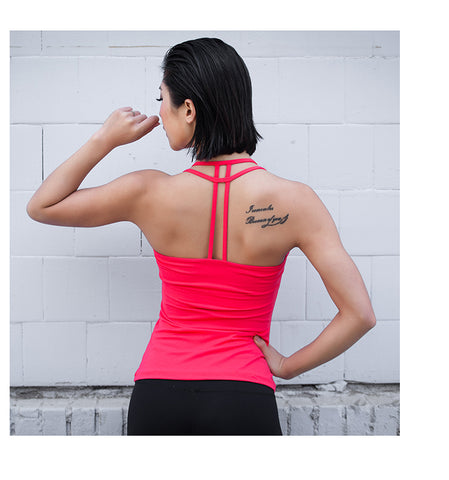 Free Shipping Eshtanga Women Yoga Backless Hollow Out Tank Tops With Padded Fitness Gym Vest 4 way stretch Clothing  Size XS-XL - unitedstatesgoods