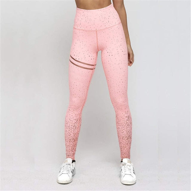 Funklouz Women Gold Print Leggings No Transparent Exercise Fitness Christmas High Waist Leggings Push Up Workout Female Pants - unitedstatesgoods