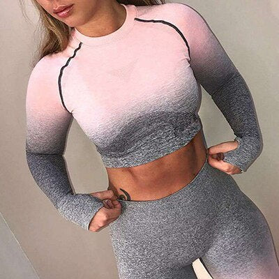 Gym's women seamless long-sleeve Crop Top High Stretchy Tumb Hole Workout Shirts Fitness Sports Shirt Sexy Gym Clothes Yoga top - unitedstatesgoods