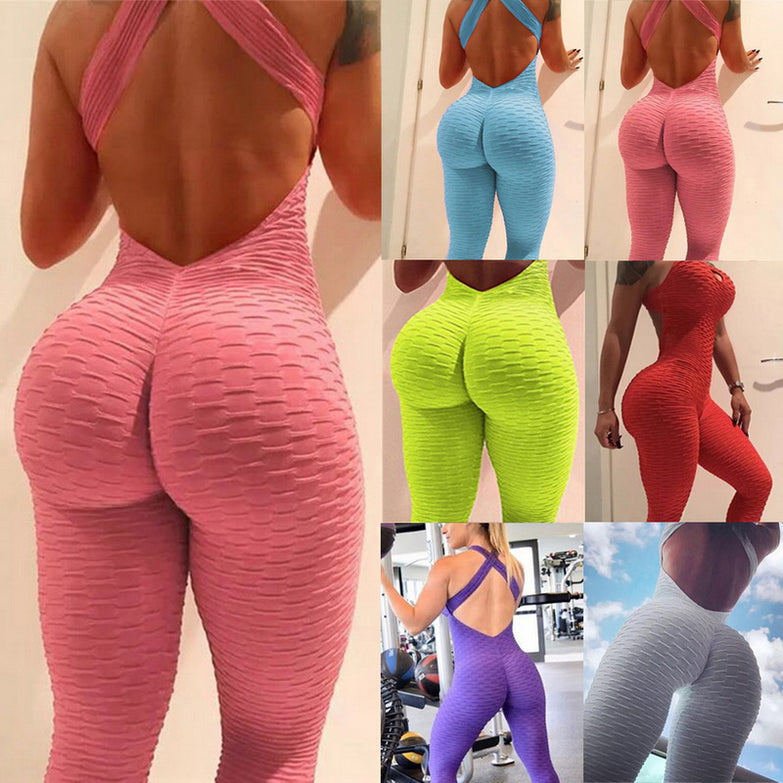 Women Summer Sports Yoga Set Siamese High Waist Hips Trousers Halter Top Backless Bandage Yoga Jumpsuit Fitness Tracksuit