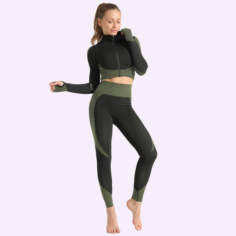 Colorvalue Seamless Workout Yoga Sets Women Stretchy Sport Fitness Suits Full Zipper Crop Tops High Waisted Leggings Activewears