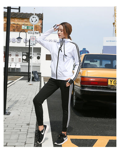 Women Tracksuit Yoga Set Loose Sports Jacket Sweatshirt Sports Harem Pants Gym Fitness Running Jog Set Sportswear