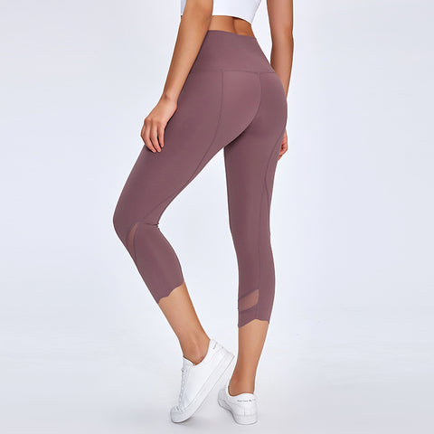 NWT 2020 Women Running Capris Yoga High Waist Skinny 4 Way Stretch Capris Fitness Leggings Sexy Net Yarn Cpairs