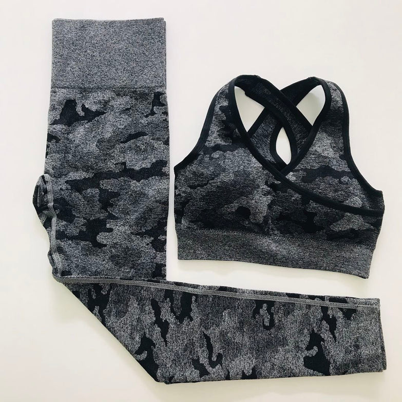 3pcs Women's Suit Camouflage Yoga Set Seamless Crop Top+Leggings Gym Set Fitness Workout Clothes for Women Ropa Deportiva Mujer
