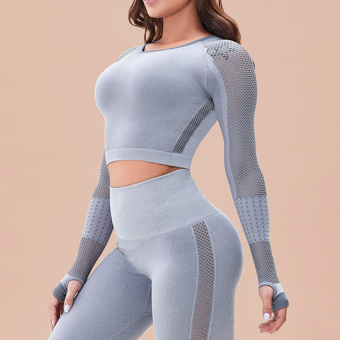 Yoga Set Women Seamless Leggings Yoga Crop Top Workout Pants Gym Set High Waist Legging Sport Clothing Fitness Suit Sportwear