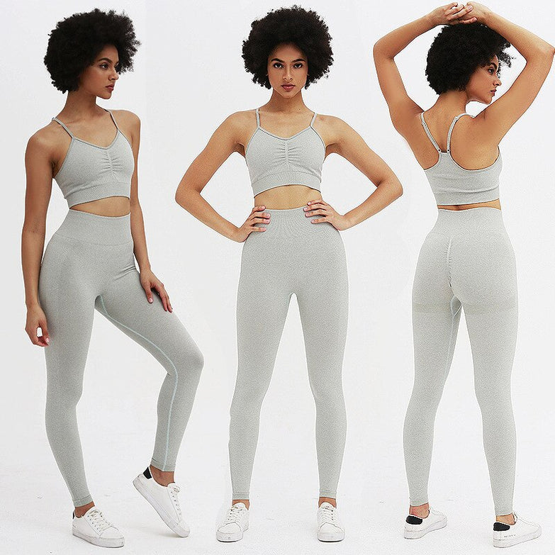 New Arrival Sweet Colors Seamless Yoga Set Women Crop Top Sport Bra Gym Leggings Lift the Hips Fitness Workout Clothes Tracksuit