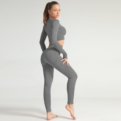 New Quality Sportswear Fitness Sexy Crop Top and Leggings Gym Tracksuit Woman Two pieces Set Workout Seamless Clothes Hot Pants