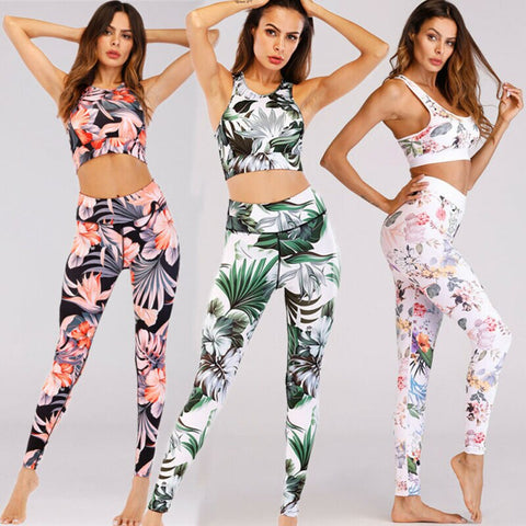 2 PCS Women Casual Gym Fitness Yoga Sport Sleeveless Floral/Leaves Print Skinny Tank Tops+High Waist Skinny Pants Suits Sets