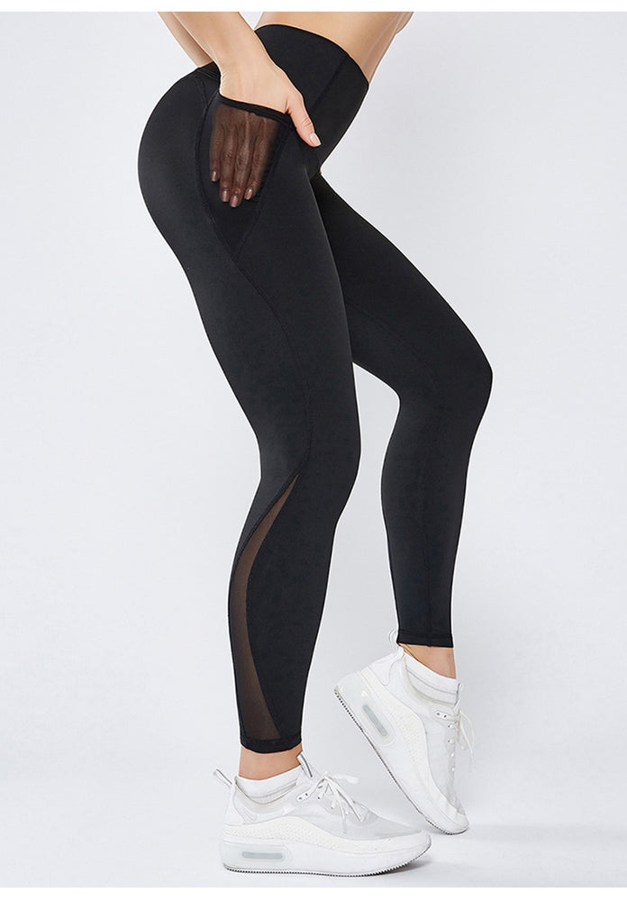 X-HERR Workout Gym Tight High Waist Sports Pant Women Anti-sweat Soft Fitness Yoga Leggings Pants Running Tights Pocket Pants