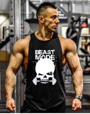 New Skull Beast Gyms Clothing Bodybuilding Tank Top Men Fitness Singlet Sleeveless Shirt Golds Cotton muscle Vest for man - unitedstatesgoods