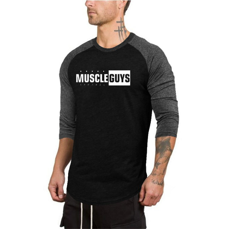 Muscleguys New Spring Autumn T-Shirt Men Fashion Slim Fit Elastic Seven Quarter Sleeve T Shirts Male Cotton Fitness Tops Tee - unitedstatesgoods