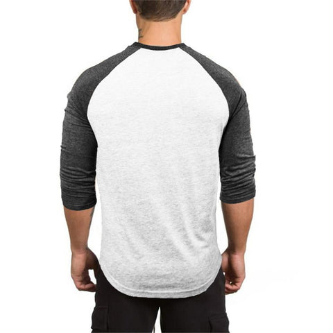 Muscleguys 3/4 Sleeve T-shirt Men Spring Autumn Casual Patchwork T Shirts Male Slim Fit Tops Fitness Raglan Tees Plus Size - unitedstatesgoods