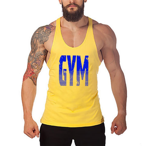 Brand Gyms Clothing Fitness Men Tank Top Letters Print Vest Mens Bodybuilding Stringer Tanktop Workout Singlet Sleeveless Shirt