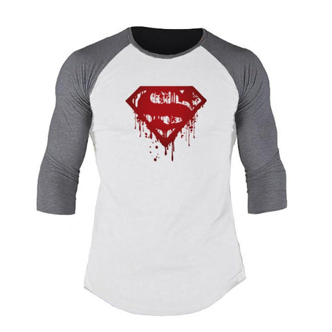 Muscleguys Spring Men T-shirts Plus Size 2XL 3/4 Sleeve Patchwork T Shirt Casual O-Neck Superman Tshirt Elastic Hip Hop Tops - unitedstatesgoods
