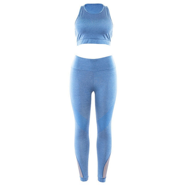 Sexy Women Tracksuit Seamless Yoga Set Fitness Sportswear High Waist Gym Leggings Push Up Crop Top Bra Solid Workout Clothes