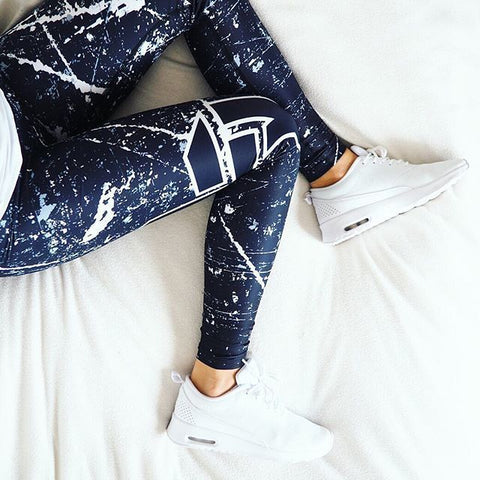 Sport Leggings Women Yoga Pants Workout Fitness Clothing Jogging Running Pants Gym Tights Stretch Print Sportswear Yoga Leggins