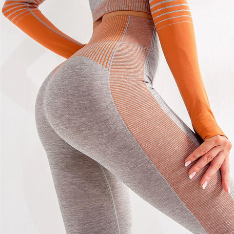 Seamless Women Yoga Set Long Sleeve Top High Waist Belly Control Sport Leggings Gym Clothes Seamless Fitness Stripe Suit Femme