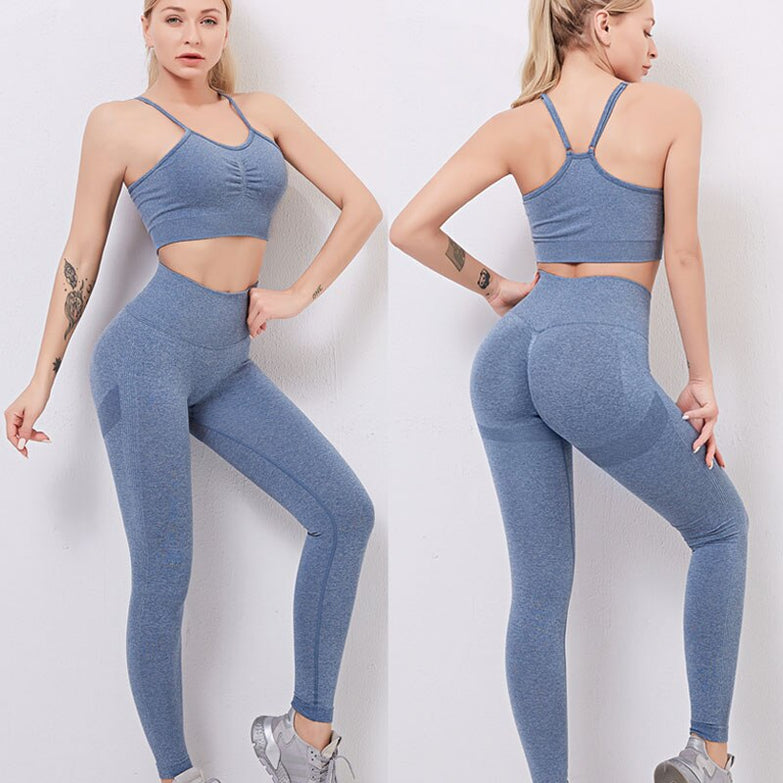 Seamless Yoga Set Women Dry Fit Two 2 Piece Tight Crop top Bra Vest Legging Sportsuit Workout Outfit Fitness Gym Sets Clothes