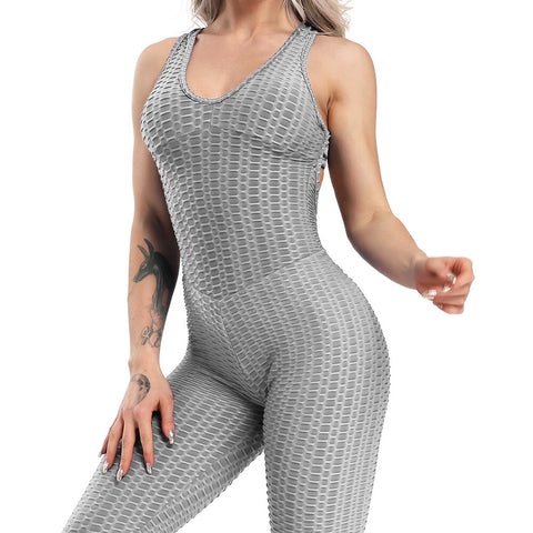 Fitness Women Sport Suit Jumpsuit 2019 Sexy Sleeveless Tracksuit Yoga Set Backless Gym Running Sportswear Leggings Workout Sport