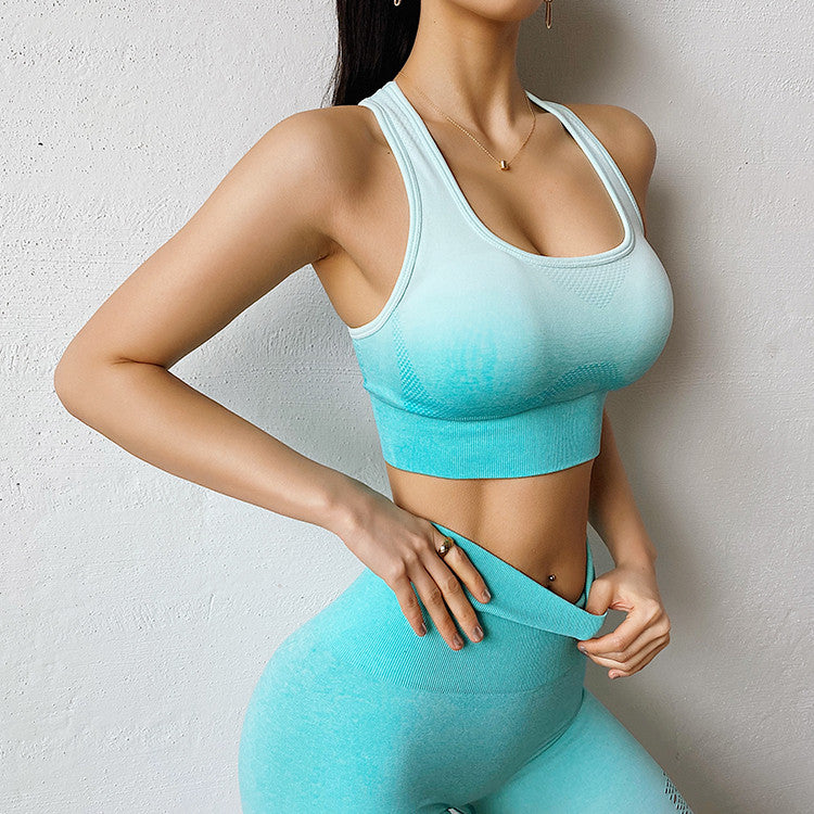 New 2 pieces Ombre Yoga Set Sports Bra Leggings Women Gym Set Clothes Seamless Workout Fitness Sportswear Fitness Sports Suit