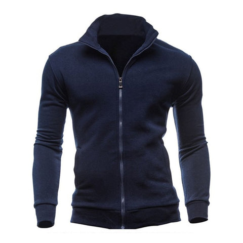 New Basic Zip Hoodies Sweatshirt Autumn Spring Men Up Jacket Casual Long Sleeve Slim Fitness Hoody Sportswear Male - unitedstatesgoods