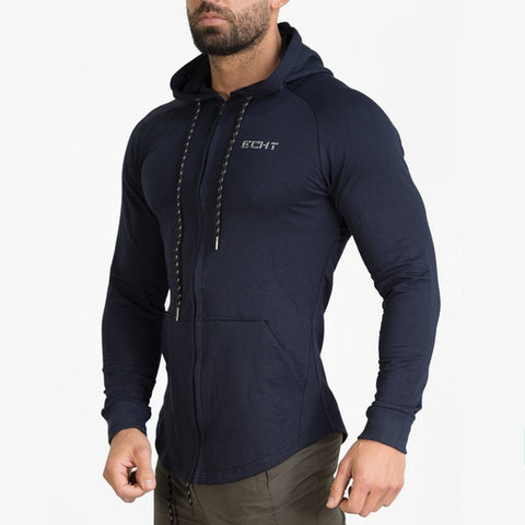 New Men Cotton Sweatshirt Gyms Fitness Bodybuilding Workout Hoodies Casual Fashion Jacket Zipper Sportswear Tracksuits Clothing - unitedstatesgoods