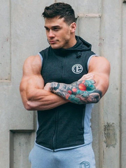 New Mens Gyms Hoodie Singlets Sweatshirts sleeveless hoodies printing Bodybuilding Fitness male waistcoat Shirts Casual hoodies - unitedstatesgoods