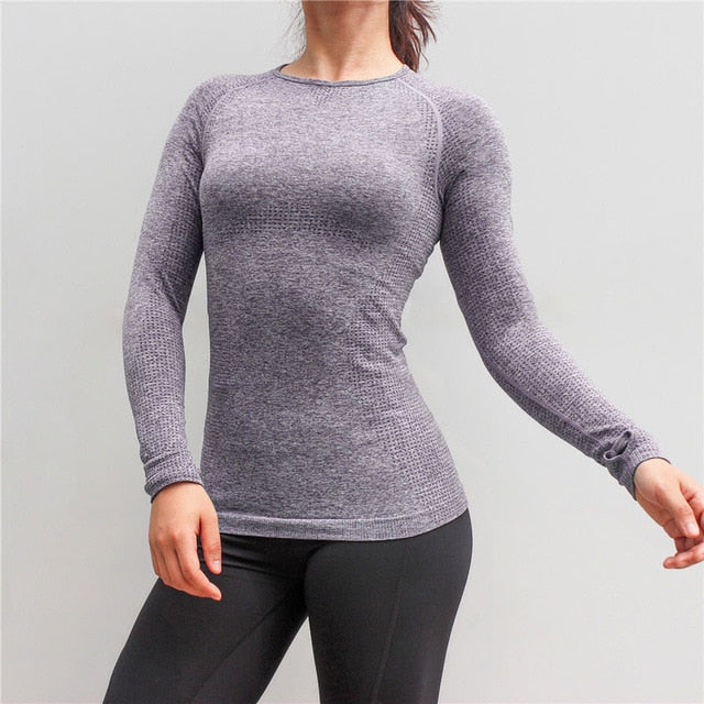 New Women Gym Yoga Shirts Tees Thumb Hole Seamless Long Sleeve Slim Workout Tops Fitness Running Sport T-Shirts Sportswear - unitedstatesgoods