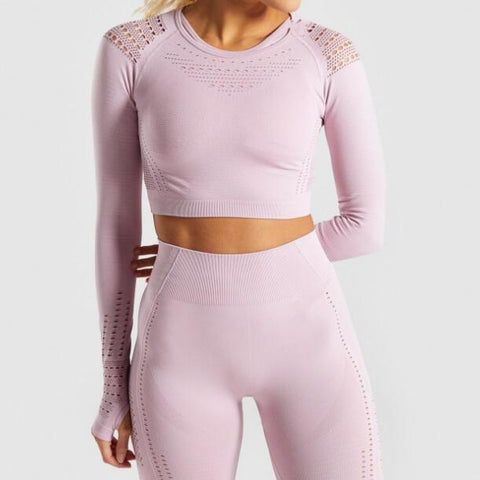 New hot Women Seamless Hollow-out Mesh Thin Sports Yoga Shirts Long Sleeves Tops Energy Yoga Sports Fitness Gym Workout T-shirts - unitedstatesgoods