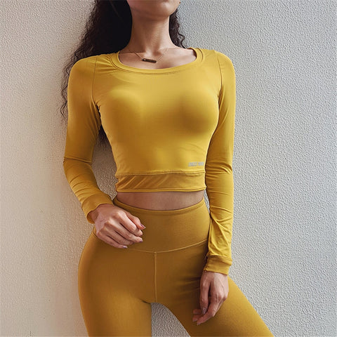 One F Sexy Gym Crop Top Women Longsleeve Workout Activewear Skinny Mesh Waist Fitness Clothing Sport Shirts Yoga Tank Top