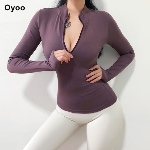 Oyoo women's army green workout jersey long sleeve pink sport top winter gym sweater half zip yoga shirt with thumb hole - unitedstatesgoods