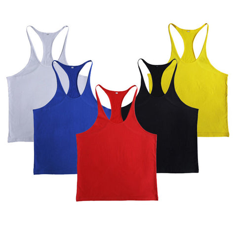 Men Summer Cotton Plain Gym Tank Top Sleeveless T-shirt Workout Bodybuilding Singlet - unitedstatesgoods