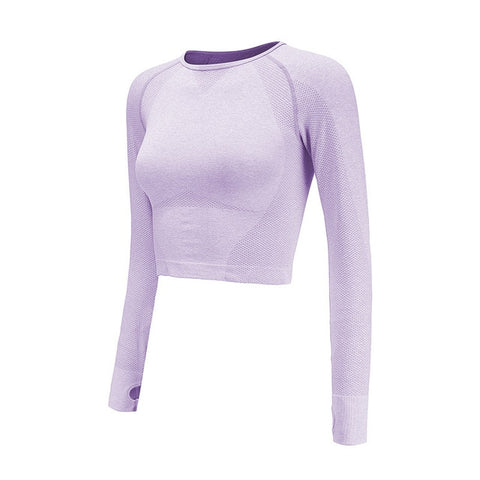 Seamless Crop Top For Women Gym Pink Long Sleeve Workout Fitness Sports Top With Thumb Hole Fitted Skinny Energy Yoga Shirts - unitedstatesgoods