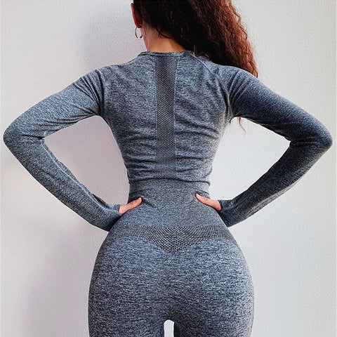 Seamless Crop Top Women Long Sleeve Workout Shirt With Tumb Hole High Quality Hollow Out Sports Tops Gym Stretchy Yoga Shirts - unitedstatesgoods