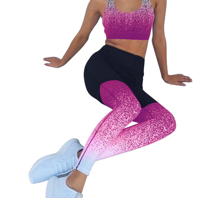 Sexy Sports Suit Women Gradient Fitness Yoga Set Tracksuit Gym Jogging Sportswear Running Top&Leggings Sport Fitness Suit Mujer - unitedstatesgoods