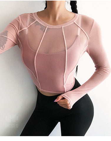 Sexy Women Perspective Sports Wear  Gym Super Quick Dry Yoga Shirts Long Sleeve Fitness Activewear Patchwork Sport Crop Top - unitedstatesgoods