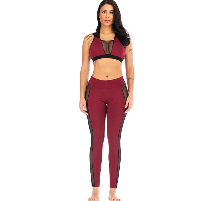 Sexy Women Yoga Suits Fitness Running Set Hoodies Crop Tops high waist Gym Leggings Sportswear Mesh Tracksuit Workout Clothing - unitedstatesgoods