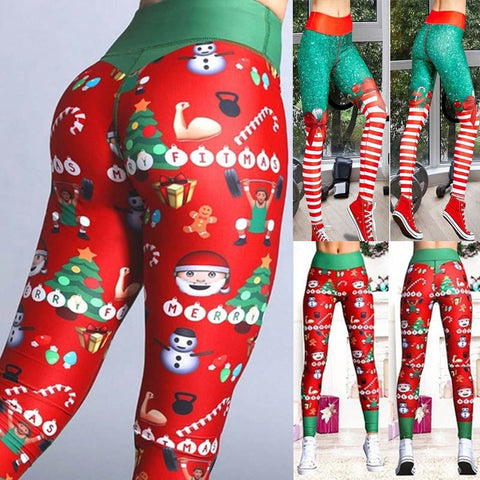 Sexy Yoga Pants Christmas 3D Santa Claus Printed Leggings High Waist Sports Leggings Fitness Women's Sports Tights - unitedstatesgoods