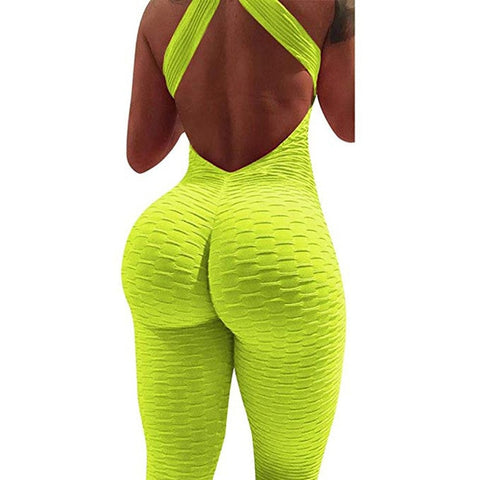 Sfit Women Summer Sports Yoga Set Siamese High Waist Hips Trousers Halter Top Backless Bandage Yoga Jumpsuit Fitness Tracksuit