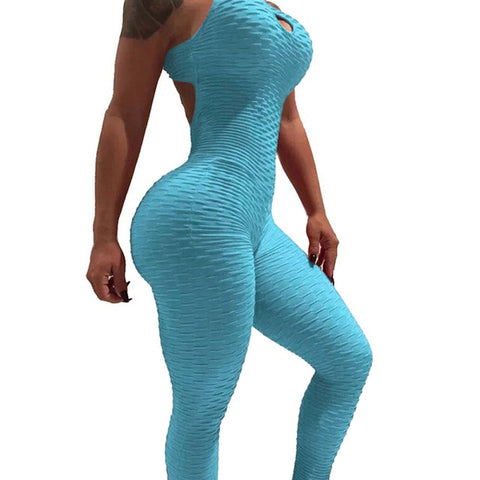 Sfit Women Summer Sports Yoga Set Siamese High Waist Hips Trousers Halter Top Backless Bandage Yoga Jumpsuit Fitness Tracksuit - unitedstatesgoods