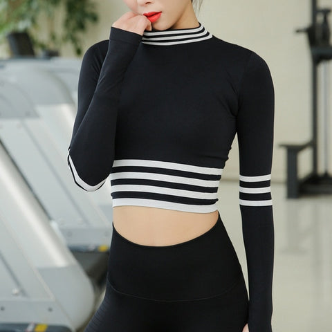 Women Sport Cropped Tops Gym Sportswear Tight Yoga Shirts O-neck Running Shirt Long Sleeve Workout Gym Stretch Top Fitness Shirt - unitedstatesgoods