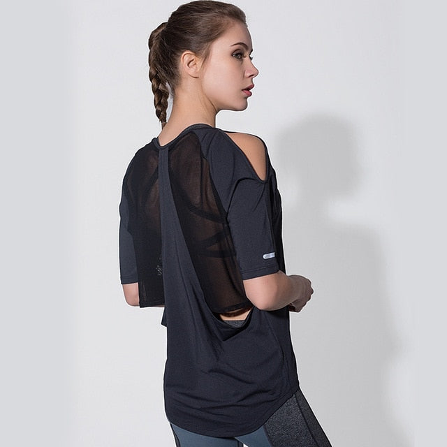 Women Cold Shoulder Half Sleeve Yoga Tops Mesh Black Cutout Gym Workout Sport T-shirt Loose Running Sports Tee Fitness Clothing - unitedstatesgoods