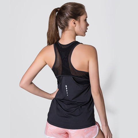 Women Fitness Yoga Shirts Sexy Mesh Sleeveless Sport T-Shirt Sports Gym Shirt Workout Running Tank Tops Quick Dry Top Sportswear - unitedstatesgoods