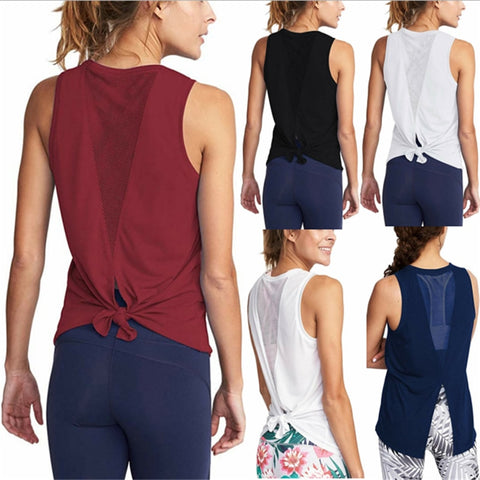 Women Gym Shirt Summer Yoga Tank Top Quick Dry Mesh Sport Vest Women Fitness Clothes Sleeveless Workout Shirt Running Sportswear - unitedstatesgoods