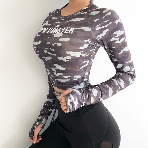 Women Sexy Long Sleeve Crop Top fitness T-shirts camouflage Yoga shirt Gym Top Sexy sports T shirt  Workout Running clothes - unitedstatesgoods