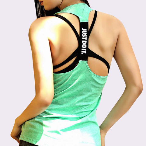 Women Sleeveless Fitness Vest Exercise Workout Sports T-Shirts Fitness Running Sport Vest Yoga top Gym Clothing T-Shirt - unitedstatesgoods