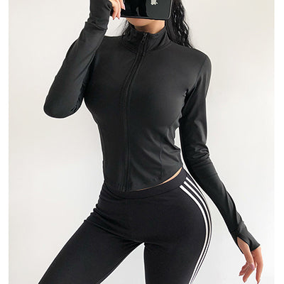 Women Sports crop coat  sexy body-building Running quick dry training Gym coat  long sleeved yoga top   autumn and winte clothes - unitedstatesgoods