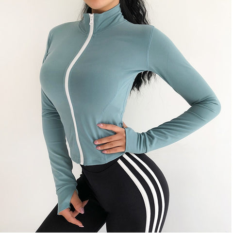 Women Sports crop coat  sexy body-building Running quick dry training Gym coat  long sleeved yoga top   autumn and winte clothes